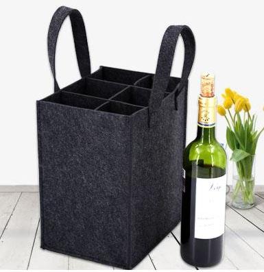 Filtveske med romdeler, vinholder, vinflaske veske, ingen